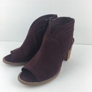 Burgundy Open Ankle Peeptoe Booties